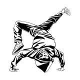 De jongenstribune van de hiphopdanser op zijn handen vector illustratie