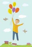 De jongensvliegen op ballons Stock Afbeelding