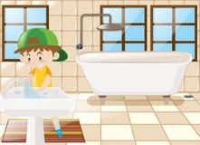 De jongenswas dient toilet in vector illustratie