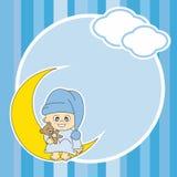 De jongenszitting van de baby op de maan royalty-vrije illustratie