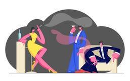 De jongeren brengt Tijd in Nachtclub die en van Nachtleven ontspannen door genieten, Rokend Sigaretten, Drinkend Alcoholische dra vector illustratie
