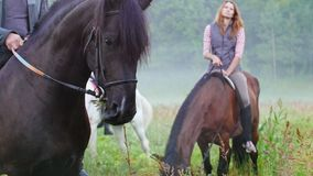 De jongeren die paarden in aard berijden, bruin paard kauwt gras in de voorgrond stock videobeelden