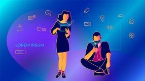 De jongeren schrijft berichten gebruikend een smartphone vectorillustratie van sociale netwerken, die e-mail en sms-bericht verze stock illustratie