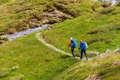 De jongeren wandelt in hooglanden van Altai-bergen, Rusland Royalty-vrije Stock Fotografie