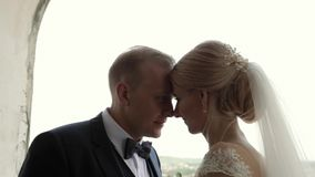 De jonggehuwden lopen in het kasteel op hun huwelijksdag De bruid en de bruidegom Enjoying bij de huwelijksdag stock footage