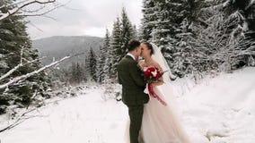 De jonggehuwden verzorgen en de kus en de slag van de bruidomhelzing elkaar in sneeuw altijdgroen bos tijdens sneeuwval in langza stock videobeelden