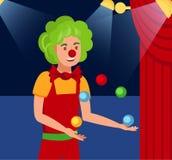 De jonglerende met Vectorillustratie van de Harlekijn Vlakke Kleur stock illustratie