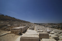 De Joodse begraafplaats in de Vallei Kidron stock foto's
