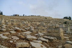De Joodse begraafplaats op het Onderstel van Olijven behandelt al helling Royalty-vrije Stock Fotografie
