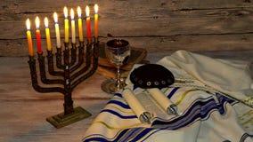 De Joodse Chanoeka van het vakantiesymbool, het Joodse Festival van Lichten stock video