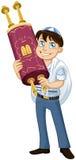 De Joodse Jongen met Talit houdt Torah voor Knuppel Mitzvah Royalty-vrije Stock Afbeeldingen