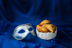 De Joodse vakantie van Purim, Carnaval-masker en hamantaschen Royalty-vrije Stock Foto