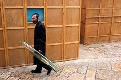 De Joodse vakantie van Sukkot in Mea Shearim Jeruzalem Israël. Royalty-vrije Stock Foto