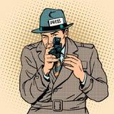 De journalist neemt retro camera over Paparazzi Royalty-vrije Stock Foto