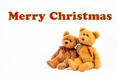 ` De Joyeux Noël de ` de message d'ours de nounours Photos libres de droits