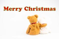 ` De Joyeux Noël de ` de message d'ours de nounours Images libres de droits