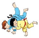De judostrijd werpt de ontvangst van dueljapan Stock Foto's