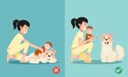 De juiste en verkeerde manieren voor nieuwe ouders Stock Foto's