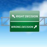 De juiste en verkeerde raad van de besluitenrichting (teken) o Stock Foto