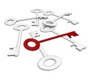 De juiste sleutel onder de rest - 3d beeld Stock Foto's