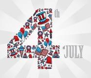 4 de julho ícones do Dia da Independência ilustração royalty free