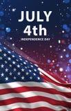 4 de julho a bandeira, a bandeira americana 3D rende, ARTE dos EUA ilustração royalty free