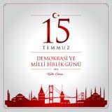 15 de julho, boas festas cartão da celebração de República da Turquia da democracia ilustração royalty free