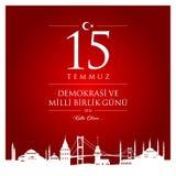 15 de julho, boas festas cartão da celebração de República da Turquia da democracia ilustração stock