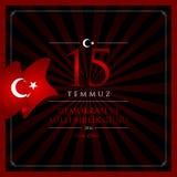 15 de julho, boas festas cartão da celebração de República da Turquia da democracia Foto de Stock