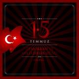 15 de julho, boas festas cartão da celebração de República da Turquia da democracia Imagem de Stock