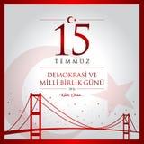 15 de julho, boas festas cartão da celebração de República da Turquia da democracia Fotos de Stock Royalty Free