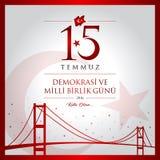 15 de julho, boas festas cartão da celebração de República da Turquia da democracia Fotografia de Stock