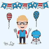 4 de julho caráter masculino ilustração stock