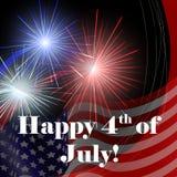 4 de julho cartão com fogos-de-artifício Fotografia de Stock Royalty Free