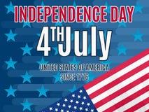 4 de julho cartaz do Dia da Independência liso Fotos de Stock