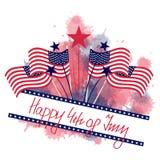 4 de julho com bandeiras e cartão das estrelas Fotografia de Stock