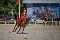 25 de julho de 2015 Apresentação cerimonial da escola de equitação do Kremlin em VDNH em Moscou Foto de Stock Royalty Free