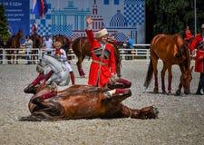 25 de julho de 2015 Apresentação cerimonial da escola de equitação do Kremlin em VDNH em Moscou Imagens de Stock Royalty Free