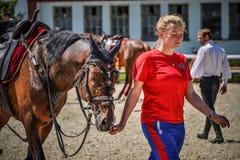 25 de julho de 2015 Apresentação cerimonial da escola de equitação do Kremlin em VDNH em Moscou Imagem de Stock Royalty Free