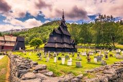 23 de julho de 2015: Igreja da pauta musical de Borgund em Laerdal, Noruega Foto de Stock