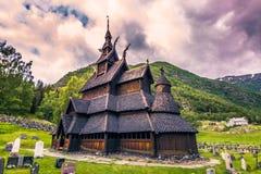 23 de julho de 2015: Igreja da pauta musical de Borgund em Laerdal, Noruega Fotografia de Stock