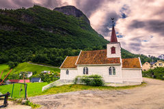 23 de julho de 2015: Igreja da pauta musical de Undredal, Noruega Imagem de Stock Royalty Free