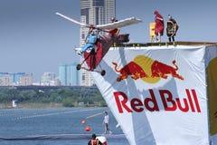 26 DE JULHO DE 2015 MOSCOU: Dia vermelho do flugtag do touro Foto de Stock Royalty Free