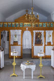29 de julho de 2016 - o interior de uma capela pequena, na ilha de Kythnos, Cyclades, Grécia Imagens de Stock