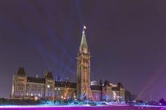 15 de julho de 2015 - Ottawa, em construções do parlamento de Canadá - de Canadá Fotografia de Stock Royalty Free