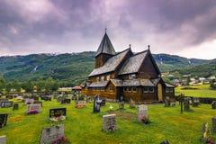 21 de julho de 2015: Stave Church de Roldal, Noruega Fotografia de Stock