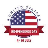 4 de julho emblema do Dia da Independência do Estados Unidos, Logo Set ilustração do vetor
