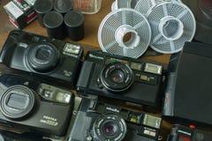 31 de julho de 2018, filmes da câmera do vintage de Banguecoque, Tailândia na madeira imagem de stock royalty free