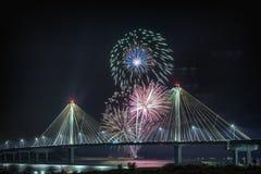 4 de julho fogos-de-artifício da celebração da independência dos EUA, Alton Imagem de Stock Royalty Free