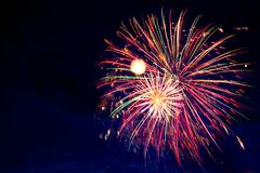 4 de julho fogos-de-artifício Os fogos-de-artifício indicam no fundo escuro do céu Imagens de Stock Royalty Free